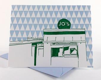 Austin Letterpress Card | Jo's Coffee | green & light blue single blank card with envelope