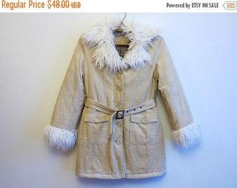 ON SALE Creamy Beige Corduroy Womens Jacket Faux Fur Collar and Cuffs Warm Coat Ladies Winter Jacket Medium Size