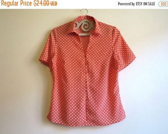 ON SALE Salmon Pink Blouse Polka Dot Blouse Salmon Top Short Sleeves Shirt Office Secretary's Summer Blouse Large to Extra Large Size