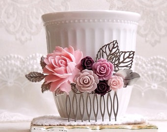Vintage style hair comb Pink Burgundy Lilac Floral hair comb Silver bridal comb Assemblage shabby chic flower comb