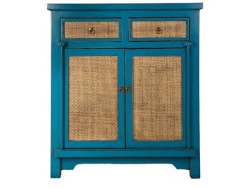 Rustic Country Wicker Chest of Drawers Storage Cabinet Solid Wood Blue