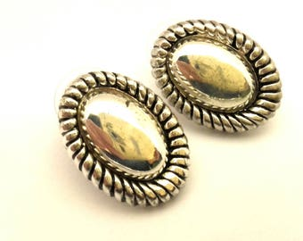 Vintage Oxidized Brass Silver Color Charming Women Stud Earrings
