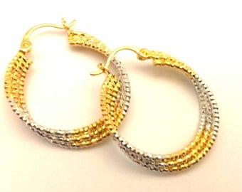 Vintage  Women Earrings Two Tone Gold & Silver Hoop Fantastic Gipsy Style