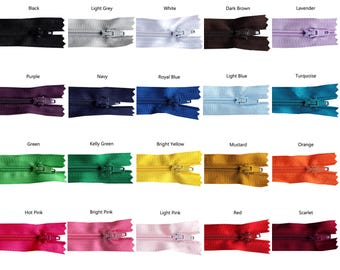 14 inch Rainbow Pack of Zippers - 25 Pieces - You Pick Colors