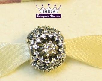 925 Sterling Silver Charm European bead Inner Radiance ,clear cz stones fit Pandora bracelet and European Bracelets