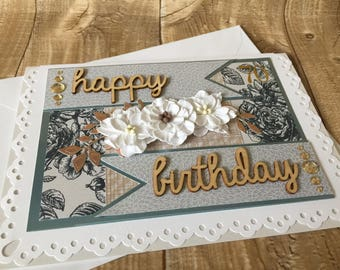 Ladies 70th birthday card with envelope, 70 years birthday, blue chintz design