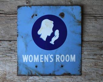 Union Oil Company Women's Restroom Porcelain Service Station Ladies Bathroom Sign
