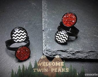Double Adjustable Ring, Black & Red Ring, Black Ring, Druzy Ring, Black Adjustable Ring, Twin Peaks, Twin Peaks Red Room, Large Double Ring