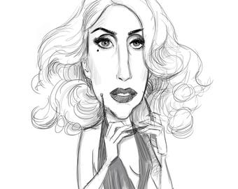 Celebrity B&W Caricature