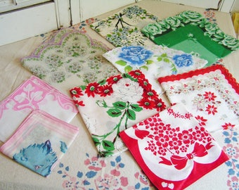 Lot of 9 Vintage Printed  Hankies Great Condition Scalloped Edges Cottage Chic Valentine Christmas Childs Handkerchiefs