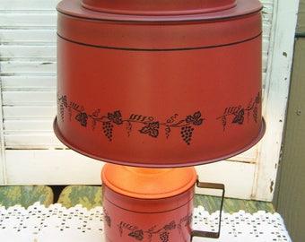 Vintage Classic Burnt Orange with Black Tole in Grape Vines and Leaves Design Tole Lamp Retro Country Decor
