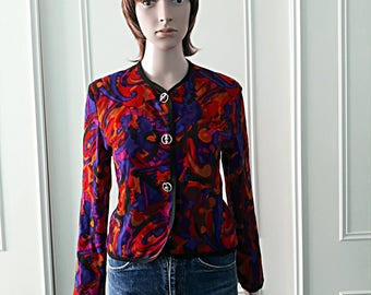 Spectrum jacket patterned jacket 1980's vintage jacket wool jacket ladies jacket black retro 80's patterned jacket size 12