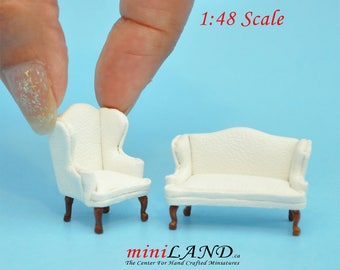 """1:48 1/4"""" quarter scale Queen Anne Leather Sofa and wing chair set White Top quality walnut for dollhouse miniature"""