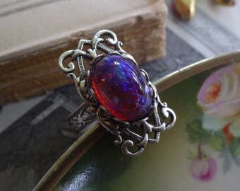 Dragons Breath ~ Silver Ring ~ Mexican Fire Opal ~ Vintage Style ~ by ladyofthelakejewels