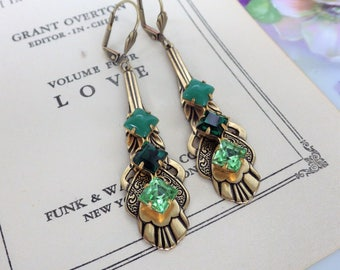 Long Green Earrings ~ Art Deco ~ Vintage Style ~ Earrings ~ Green Ombre ~ Vintage Glass ~ Color Block ~ by LadyofTheLakeJewels