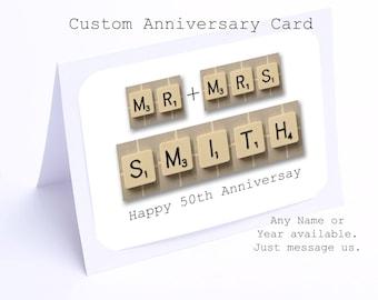 50th Anniversary Card in Scrabble