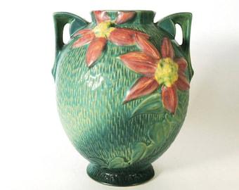 """Roseville Pottery Clematis Vase 107-8"""" Vintage 1940's"""