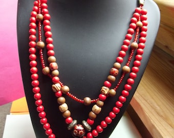 Long bohemian necklace with wooden beads and findings (No. 15)