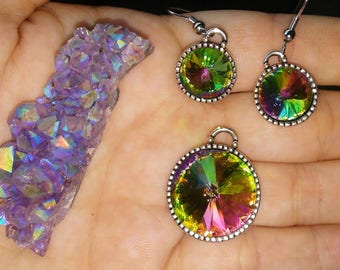 Rainbow rhinestone earrings and necklace.