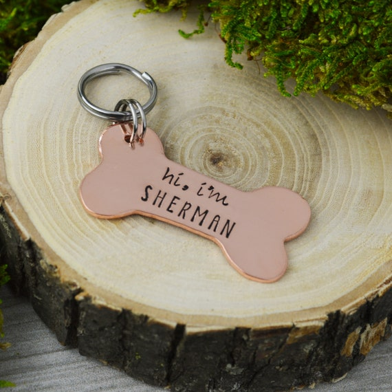 hand stamped pet id tag personalized pet dog tag dog collar name