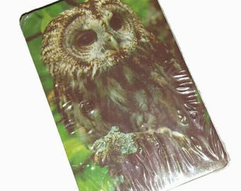 Vintage OWL Cards 70s SEALED Grumpy Owl Deck of Playing Cards 1970s New Old Stock Christmas Gift Stocking Stuffer  Bird Animal Owl Ephemera