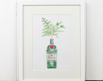 Tanqueray Gin Botanical Watercolour Print A4.