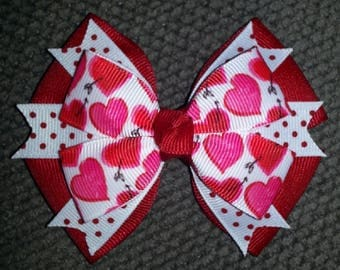 Hearts Valentine's Day Handmade Boutique Bow
