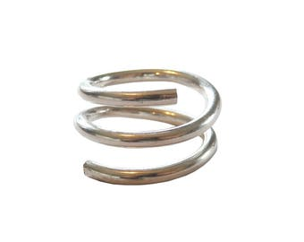 Industrial Sterling Silver Coil Ring; Slinky Ring; Spiral Ring; Statement Ring; Silver Spiral Ring; Coil Ring; Snake Ring; Wrap Ring