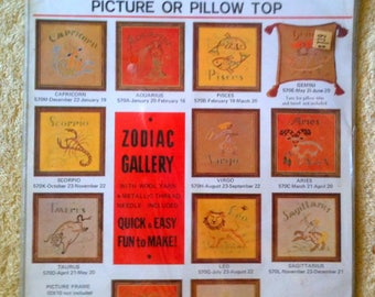 Vintage Zodiac Gallery Crewel Kit Picture or Pillow Top Leo Crewel Creative Stitchery 1970s Zodiac Crewel  B21