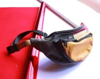 vtg color block leather fanny pack festival fanny pack pouch multicolor leather