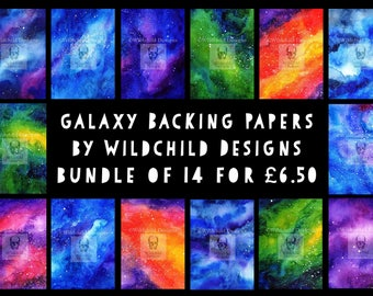 14 x Galaxy JPEGs Nebula Space Watercolour Hand Painted Backing Papers Wildchild Designs use with Paper Cutting Templates Digital Downloads