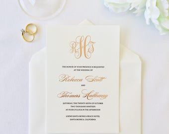 Rose foil Wedding invitation, with letterpress DLPRF-RS1026