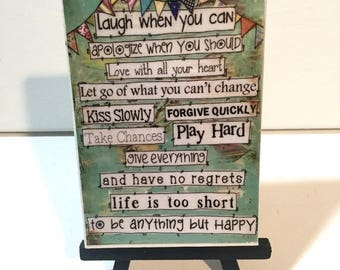 Christmas in JULY SALE Happy Sign- Life Rules - Print and Easel Set