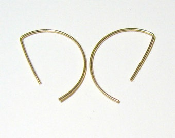 Half-circle gold-filled earrings  Minimalist gold-filled hoops Half circle stud hoops Passe partout gold hoops