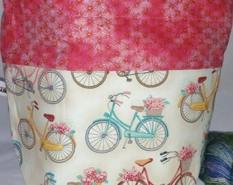 Sock to Shawl WIP Project Drawstring Wedge Bag, Knitting/Crochet Ba, Drawstring Bag, Bicycles Bag, Lightly Padded Yarn Bowlg, Holds-Anything