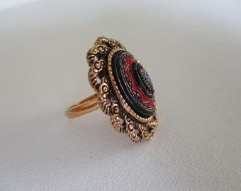 Vintage Sarah Coventry Ring Adjustable Band Old Viennna 1975 Excellent Free Shipping