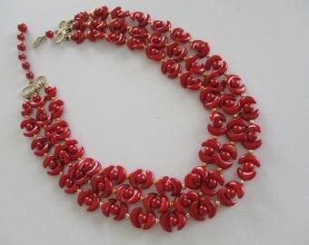 Multi Strand Bead Necklace Brick Cresent Shape Plastic Beads ~ Free Shipping