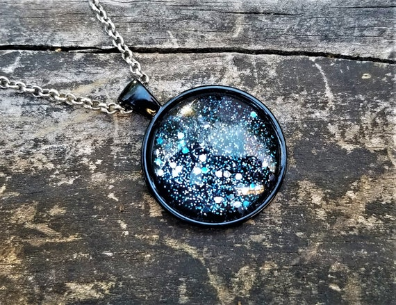 Hand Painted Glass Pendant: Blue Glitter on Black (Necklace or Keychain)