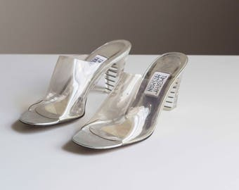 Clear Mules with Ribbed Lucite Heel and Leather Sole 1980s Vintage // Size 8 1/2