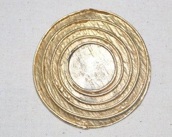 Vintage Gold Large Round Swirl Brooch