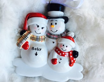 Baby Announcement - New Baby - Family Ornament - Personalized Ornament - Expecting Family Ornament - Pregnant Ornament - Pet Ornament