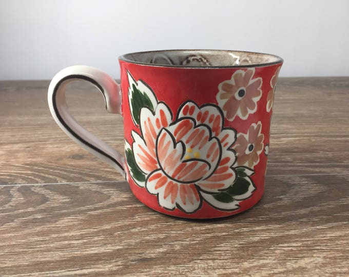 Featured listing image: Red Mug with Big Mums