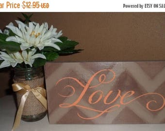 50% OFF OVERSTOCK SALE Hand Crafted Tan Peach Love Chevron Wood Sign Home Decor Wall Hanging