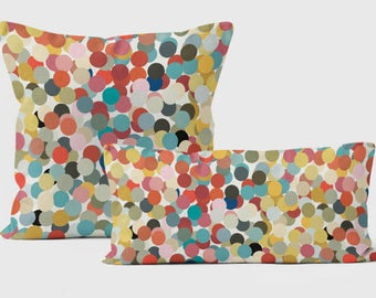 Decorative pillows for couch, Throw pillow covers 18x18, Pillow cases handmade, Confetti pillows, Dots pillow, Turquoise, Coral Pillow