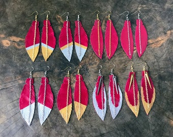 Magenta Leather Feather Earrings, Bright Pink Leather Earrings, Boho Earrings, Feather Jewelry, Statement Gift for Women, Free Shipping