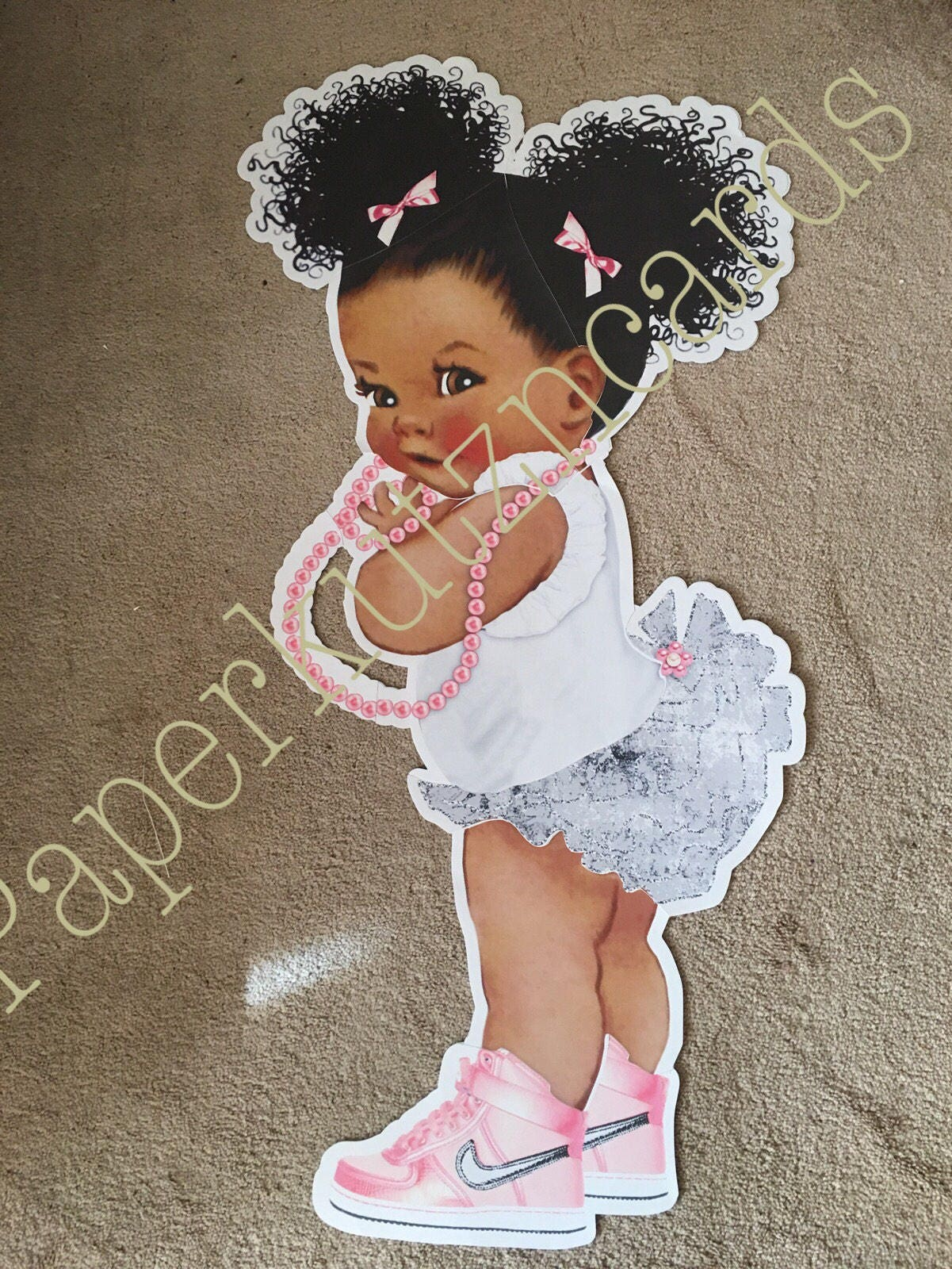 Back Drop 4 Foot Baby Double Sided Girl Baby Shower Afro Puff