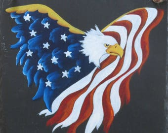 Land of the Free, Thanks to the Brave Hand Painted Slate
