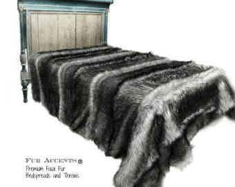Plush Faux Fur Bedspread - Comforter - Throw Blanket - Gray Wolf Pieced Fur Soft Minky Cuddle Fur Lining - Fur Accents Original Designs USA