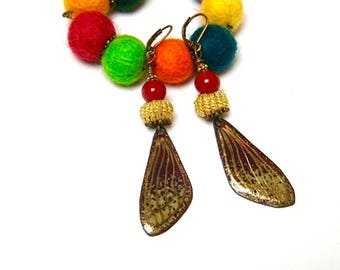 Dangle earrings, Bohemian, boho chic, copper enamel, braid, glass beads