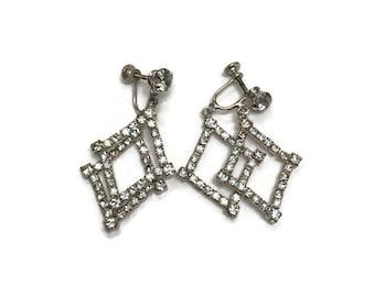 Signed Weisner Earrings, Rhinestone Dangle Earrings, Vintage Screw Back Earrings, Costume Jewelry